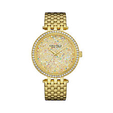Caravelle Women's Quartz Rock Crystal Champagne Dial Gold-Tone 36mm Watch 44L184