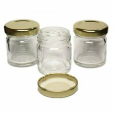 90 Vasetti in vetro con capacità di 106 ml con tappi dorati