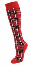 lungo rosso scozzese Calzini Hogmanay BASETTE NOTTE Calzettoni al ginocchio
