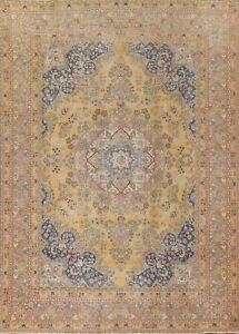 Vintage Floral Kashmar Hand-knotted GOLD Area Rug Evenly Low Pile 9'x12' Carpet