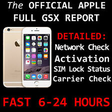 Apple OFFICIAL FULL GSX Report iPHONE Network/Carrier Check, Activation SIM Lock