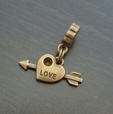 Love Heart Arrow Bronze Dangle Bead f/ European Style Charm Bracelet/Necklace