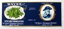 5 Labels- Vintage 1920s Wayne Sweet Wrinkled Peas Can Labels