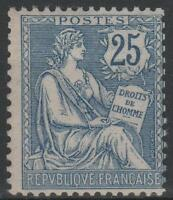 "FRANCE STAMP TIMBRE 127  "" MOUCHON RETOUCHE 25c  BLEU 1902 ""  NEUF xx LUXE M580"