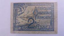 Billet Banknote Bill 2 Francs Afrique Occidentale Française 1944 WW2 rare