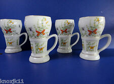 Set (4) Shafford Ecstasy Large COFFEE MUGS Butterfly Garden 12oz Tea Cups Japan
