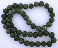 10mm Round Natural Canadian Mixed Shade Green Nephrite Jade Bead 15 Inch Strand