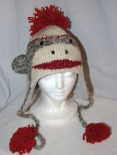 SOCK MONKEY HAT knit gray ADULT animal costume ski cap toque beanie LINED unisex