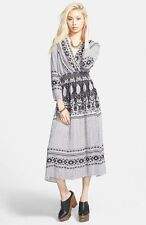 Free People Dress Shes A Lady Long Sleeve Low Back Print Ivory Combo Size S