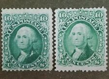 US #68 & #68a, Green and Blue-Green. Mint! Scott $900. Nice set!