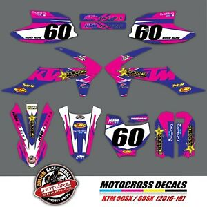 GRAPHICS KIT to fit KTM 50SX 65SX - SUBSTANCE DECALS MX - BLUE/PINK (2016-2018)