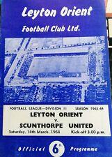 Leyton Orient VS scunthorpeutd FOOTBALL programma 1963/1964