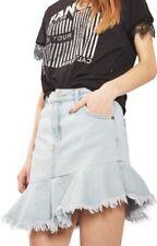 NWT Topshop Moto Blue Indigo Denim Skirt With Ruffle Hem 4 - runs small fits 2