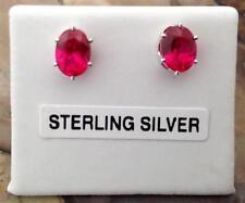 Butterfly Fastening Stud Ruby Oval Fine Gemstone Earrings