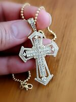 6 Ct Diamond Cross Pendant Necklace 14K Yellow Gold over for Women and Men