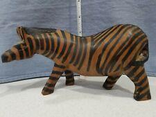 Vintage Wooden Zebra by Wicker Works Ames Iowa Animal Decor Brown Black Figurine