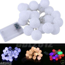 20 Cotton Ball Fairy LED String Lights Wedding Party Patio Xmas Christmas Decor