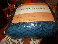 "NIP New Chevron Plush King Size Blanket 108"" x 80"" Blue*"