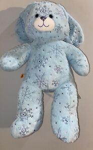 "Build a Bear Blue Christmas Snowflake Bunny Rabbit Plush Sparkle 17"" Retired"