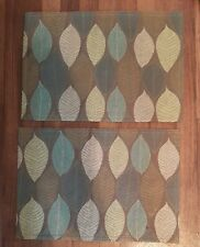 Set of 2 Leaf Theme Teal, Green, Brown Placemats