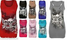 WOMENS LADIES FOREVER YOUNG SKULL WINGS PRINTED T SHIRT MUSCLEBACK VEST TOP 8-22