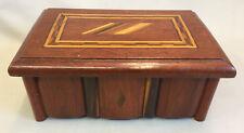 Vintage/Antique Wood Marquetry Folk Art Box With Diamond Design