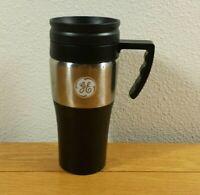 GE General Electric Advertising Logo Tea Coffee Cup Hot / Cold TRAVEL MUG w/ Lid