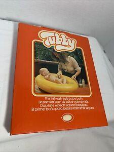 Tubby Inflatable Baby Bath White Infant Ring Tube Tub Vintage 1970s Model 100