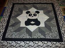 "Panda Bear Carpenters Star Applique Baby Wall Quilt Top 42"" X 42"""