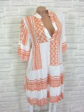 Hippie Blogger Hängerchen Kleid Tunika Volant Print 36 38 40 42 Weiß Orange K133