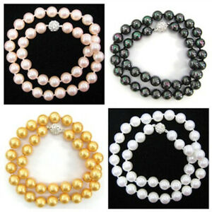 4 Color 8/10/12/14mm South Sea Shell Pearl Round Beads CZ Clasp Necklace 18-36''