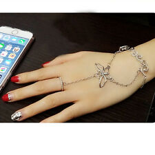 Fashion Crystal Butterfly Bracelet Slave Chain with Ring Hand Harness Silver nEW