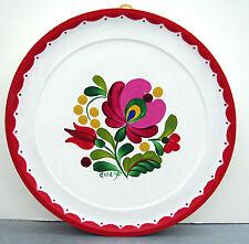 "SIGNED OOAK Hungarian folkart handpainted Matyo floral 5.5"" WOODEN WALL PLATE #2"