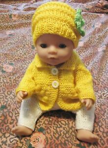 Yellow Cardigan/Top Trousers w Beanie Baby Born Knitted Clothes Doll 38-42cm