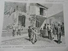 Gravure 1892 - Venezuela Ruines de la maison de M. Villegas Pulido Caracas