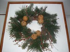 18'' CHRISTMAS DOOR WALL WREATH~NEW~NATURAL TWIG & CONES RUSTY BELLS, PINE DECO