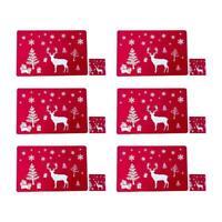 6PCS Christmas Dining Mats Set Reindeer Placemats Cup Mats Coasters E3U7
