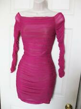 BEBE PINK OFF SHOULDER SHIRRED MESH LONG SLEEVE DRESS NWT NEW XSMALL XS