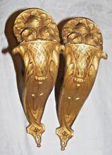 Paire Français Antique Bronze Doré Fleur Panier Tringle Rideau Tige Support