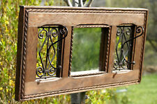 Miroir 2 crochets patères mural vintage Wall Mirror with 2 Hooks Coat Rack