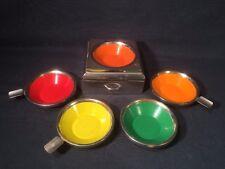 Vintage Enamel Stackable Coloured Ashtrays With Cigarette Drawer (ref W854)