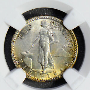 Philippines 1944 D 10 Cents silver NGC MS63 nice golden toning NG0538 combine sh