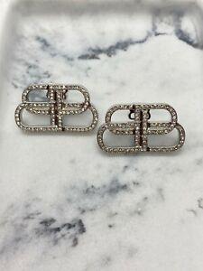 Auth BALENCIAGA BB Silver Tone Rhinestone Earrings - Pre owned / S2062