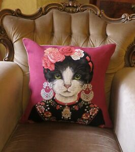 AWESOME FRIDA KAHLO CAT ARTIST TAPESTRY CUSHION SHAM PILLOW COVER ONLY