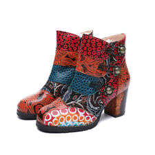 Premium Leather Ankle Heel Boots Hand Made Bohemian Ethnic Bootie Low Block Heel
