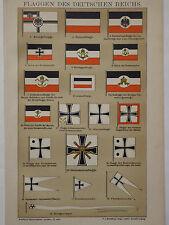 Lithographie, Flaggen des Deutschen Reichs, Fahnen, Brockhaus 1901-1905