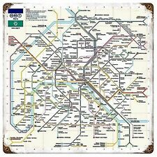 Paris Metro Map weathred rusted steel sign 300mm x 300mm (pst)