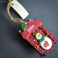 Debbie Christmas Ornament Personalized Name Red Sled Ganz NEW