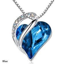 Women Silver Love Heart blue Zircon Pendant Necklace Jewelry Anniversary Day