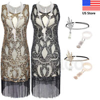Retro Flapper 1920s Costume Womens Gatsby 20s Party Gown Evening Dress Plus Size
